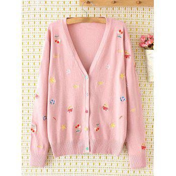 Plus Size Cartoon Embroidered Cardigan