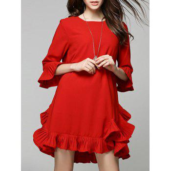 3/4 Sleeve Flounce Mini Shift Dress