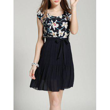 Floral Print Drawstring Pleated Chiffon Dress