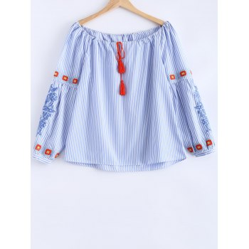 Embroidered Drawstring Striped Blouse