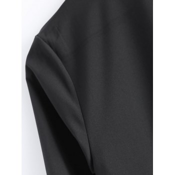 Loose-Fitting Asymmetric Buttoned Blouse - BLACK L