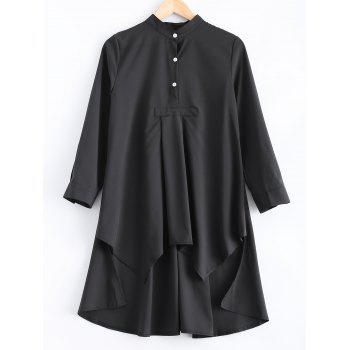 Loose-Fitting Asymmetric Buttoned Blouse - BLACK S