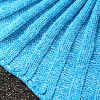 Flouncing Sleeping Bag Knitting Mermaid Blanket For Kids - LIGHT BLUE