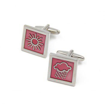 Concise Square Weather Design Cufflinks - PINK PINK