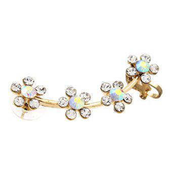 ONE PIECE Artificial Crystal Floral Ear Cuff - GOLDEN