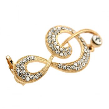 ONE PIECE Music Note Rhinestoned Ear Cuff - GOLDEN