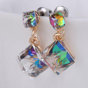 Faux Crystal Double Cube Earrings - COLORMIX