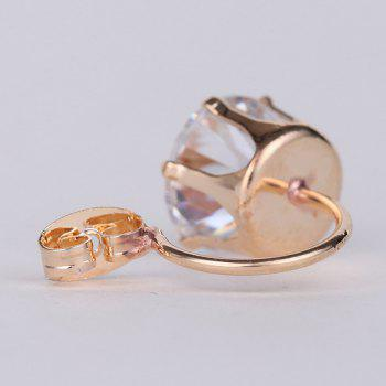 Pair of Round Double End Rhinestone Stud Earrings - GOLDEN