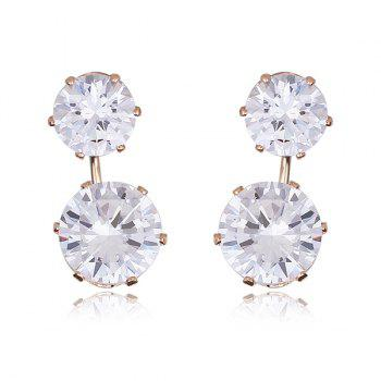 Pair of Round Double End Rhinestone Stud Earrings