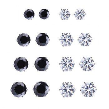 A Suit of Round Geometric Rhinestone Stud Earrings