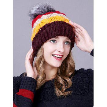 Winter Casual Faux Fur Ball Striped Knitted Beanie - COFFEE