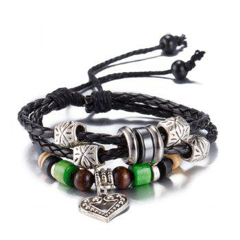 Faux Leather Rope Beads Heart Bracelet