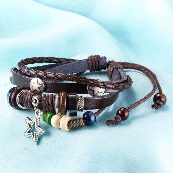 Faux Leather Rope Woven Star Beaded Bracelet - BROWN