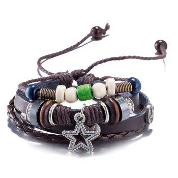 Faux Leather Rope Woven Star Beaded Bracelet