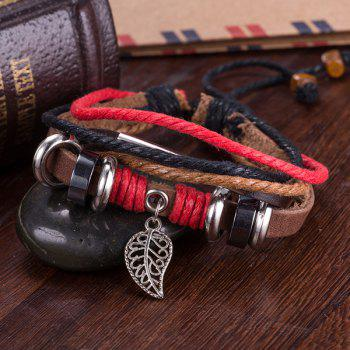Faux Leather Woven Lucky Rope Leaf Bracelet - BROWN