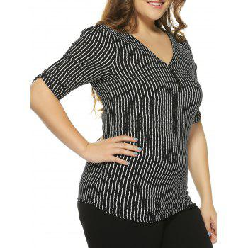 Plus Size Beaded Striped Blouse