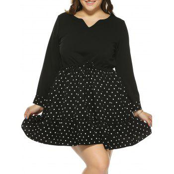 Plus Size Polka Dot Drawstring Dress