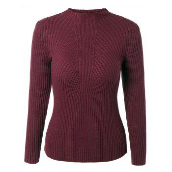 Pure Color Round Neck Stretchy Knitwear