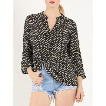 Casual 3/4 Sleeve V Neck Print Shirt