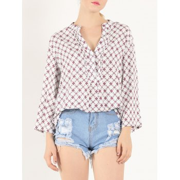 Casual 3/4 Sleeve V Neck Tiny Floral Print Shirt