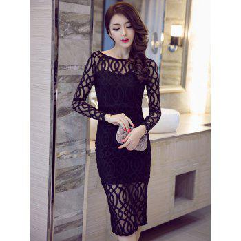 Long Sleeve Boat Neck See-Through Pencil Dress