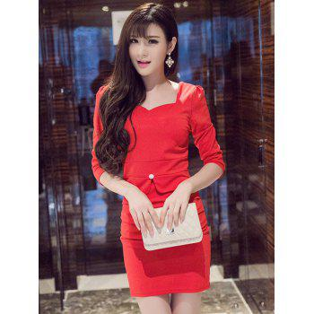Sweetheart Neck 3/4 Sleeve Mini Sheath Dress