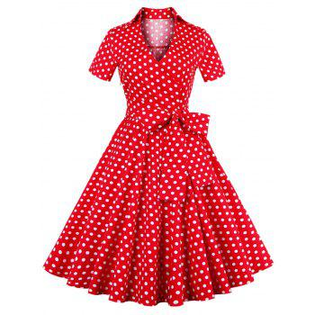 Retro Polka Dot Print Bowknot Flare Dress