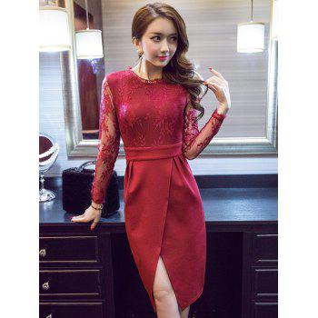 Sheer Long Sleeve Lace Spliced Front Slit Dress