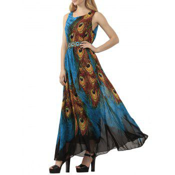 Bohemian Tie-Dye Peacock Leather Print Maxi Dress