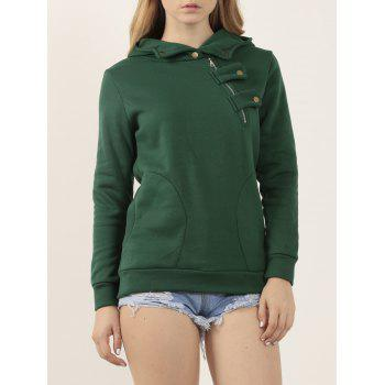 Long Sleeve Slant Zipper Loose Green Hoodie