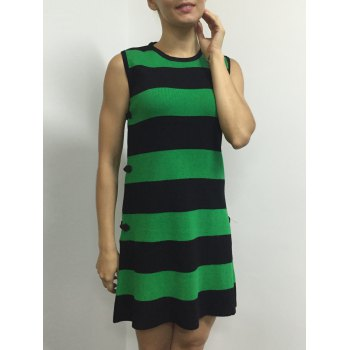Bouton Color Block Stripe manches Side Robe - Vert ONE SIZE