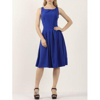Casual Pleated Sleeveless A Line Dress