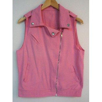 Pure Color Buttoned Zipped Denim Vest