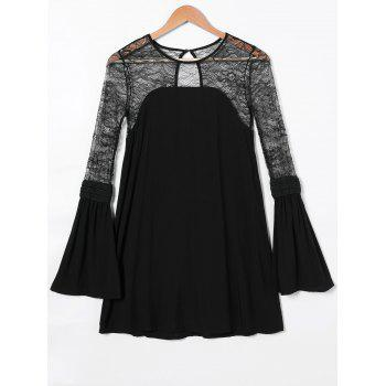 Lace Splicing Open Back Bell Sleeve Dress