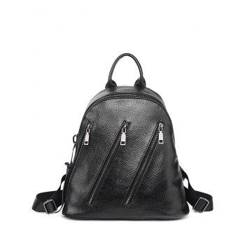 Zippers Textured Leather Metal Backpack