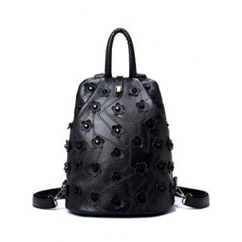 Rivets Stitching Flowers Backpack