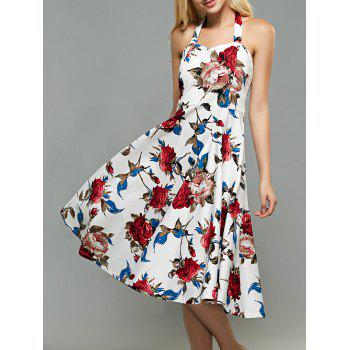 Halter High-Waisted Rose Print Backless Vintage Dress