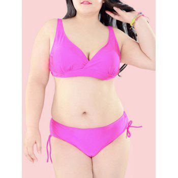 Oversized Pure Color Tie Side Bikini Set