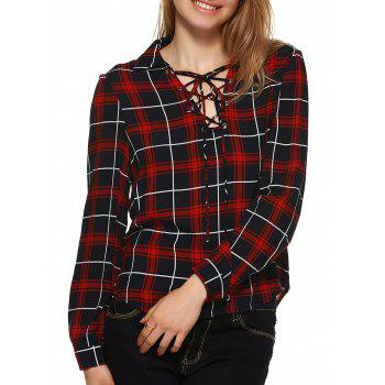 Plaid Flannel Lace Up Front Blouse - BLACK AND WHITE AND RED M