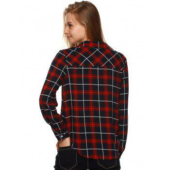 Plaid Flannel Lace Up Front Blouse - BLACK/WHITE/RED BLACK/WHITE/RED