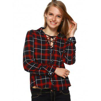 Plaid Flannel Lace Up Front Blouse - BLACK/WHITE/RED M