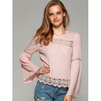 Sweet Bell Sleeve Hollow Out Blouse - SHALLOW PINK XL