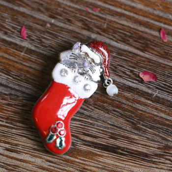 Stylish Rhinestone Christmas Hat Cat Christmas Stocking Brooch -  RED