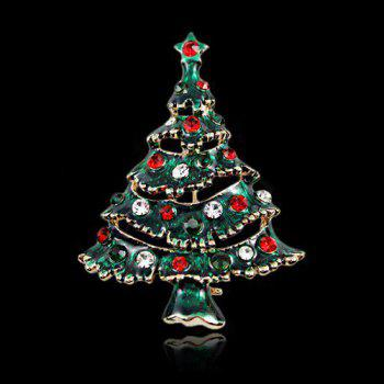 Sweet Cut Out Rhinestone Enamel Multicolored Christmas Tree Brooch