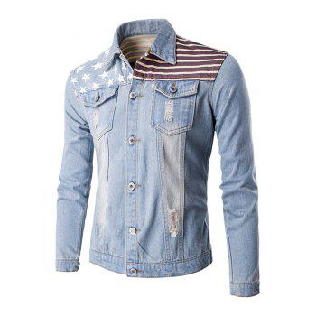 Frayed Design Flag Print Denim Jacket