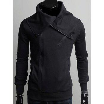 Wide Lapel Collar Zippers Design Hoodie