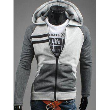 Zipper Flying Patchwork Design Casual Hoodie