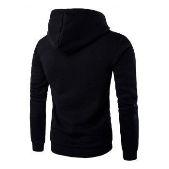 Long Sleeves Stripe Printed Hoodie - BLACK L