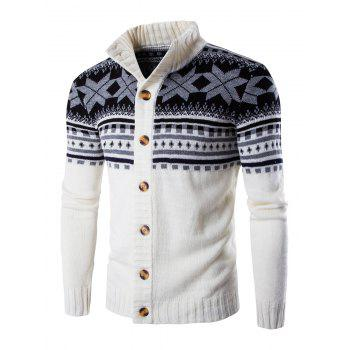 Long Sleeves Geometric Design Sweater Coat
