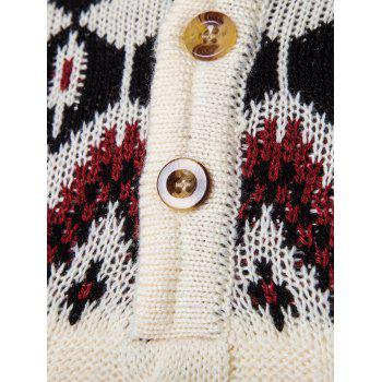 Geometric Design Sweater Coat - BEIGE 2XL